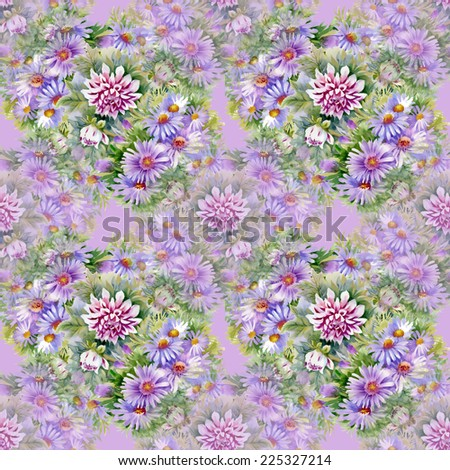 Purple chrysanthemums and daisies flowers seamless pattern on pink background