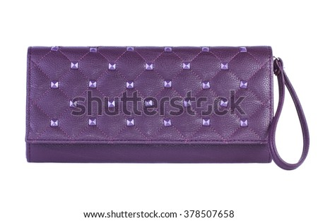 Purple clutch bag isolated on white background - stock photo