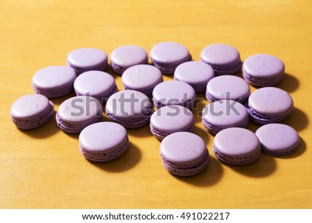 Purple color Macaroons on table