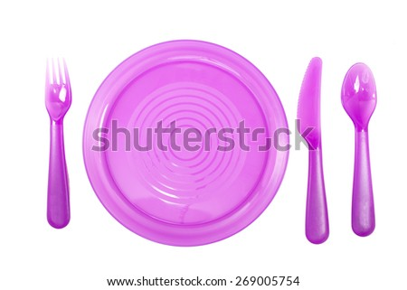 Purple Color plastic plates with utensils isolate on white background - stock photo