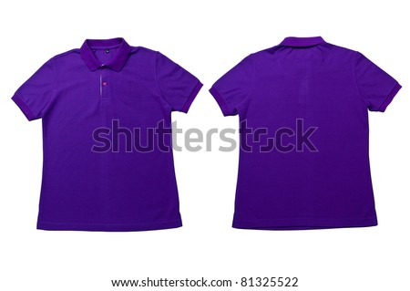 Purple color Polo Shirt with white background  Men Front and back Polo Shirt - stock photo