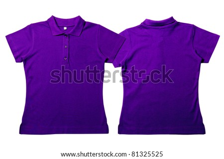 Purple color Polo Shirt with white background  Women Front and back Polo Shirt - stock photo