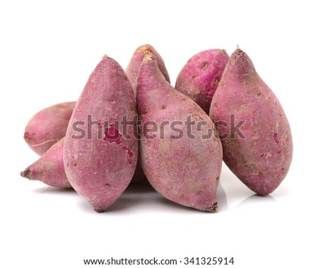 Purple Colored Sweet Potatoes on White background  - stock photo