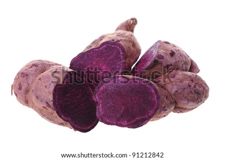 Purple Colored Sweet Potatoes on White background