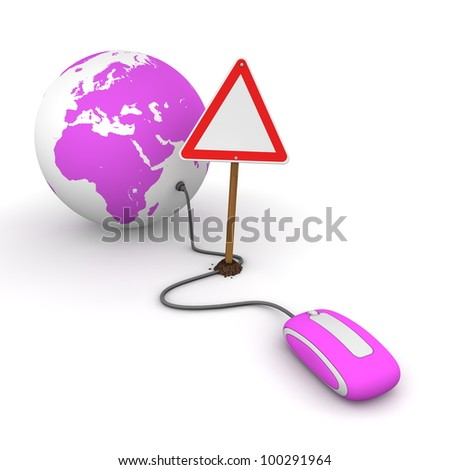 purple computer mouse is connected to a purple globe - surfing and browsing is blocked by a triangular red-white warning sign that cuts the cable - empty template sign - stock photo