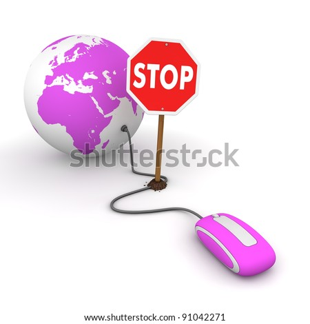 purple computer mouse is connected to a purple globe - surfing and browsing is blocked by a stop sign that cuts the cable - stock photo