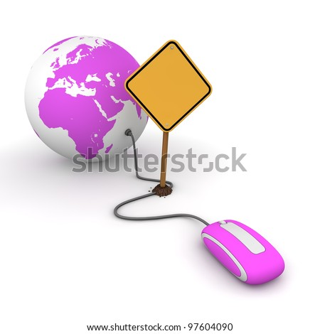 purple computer mouse is connected to a purple globe - surfing and browsing is blocked by a yellow warning sign that cuts the cable - sign as an empty template for your own text - stock photo