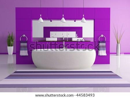 purple contemporary bathroom - stock photo