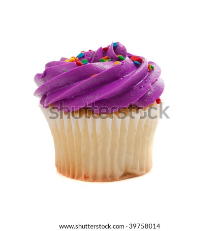 Purple Cupcake with colored sprinkles on a white background - stock photo