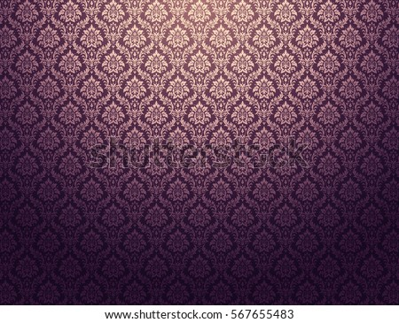 Purple Damask Wallpaper With Golden Floral Patterns