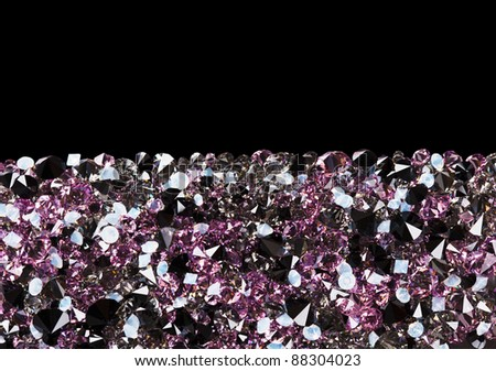 Purple diamond jewel stones luxury background with copy space on black - stock photo