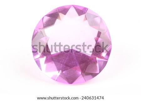 Purple diamond on a white background - stock photo