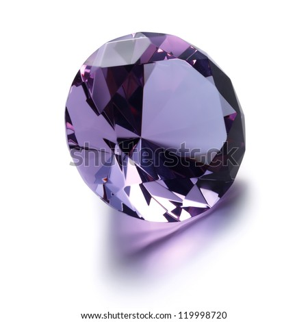 Purple Diamond on white background - stock photo