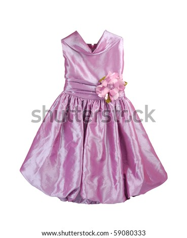 Purple dress for girls isolated with clipping path on white - stock photo