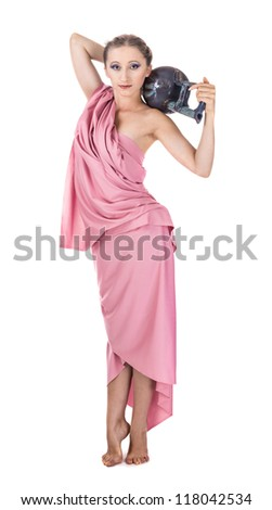 purple dressed girl with amphora as ancient greece isolated on white - stock photo