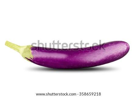 Purple Eggplant On White Background - stock photo
