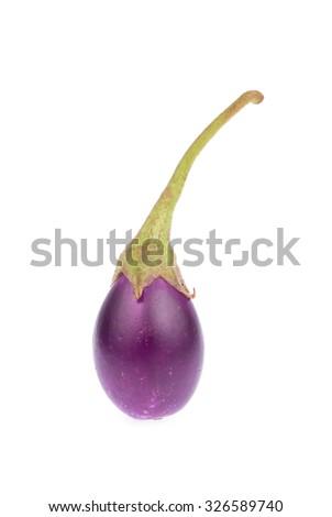 purple eggplant or aubergine vegetable isolated on white background - stock photo