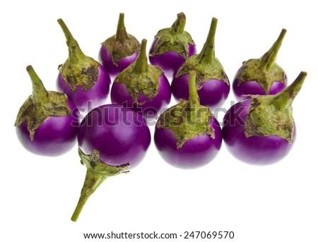Purple eggplant (Solanum melongena) isolated on a white background - stock photo