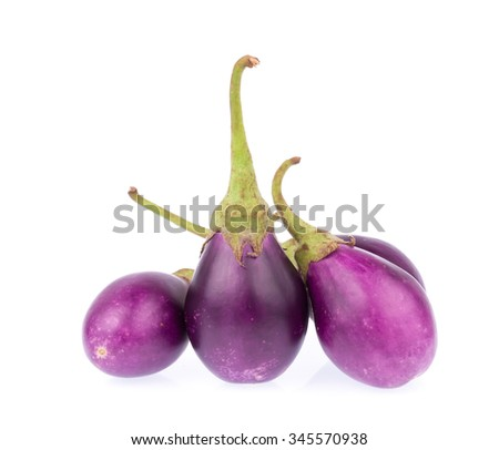 purple eggplants or aubergine vegetable isolated on white background - stock photo