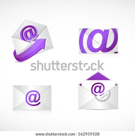 purple email envelopes illustration design over a white background - stock photo