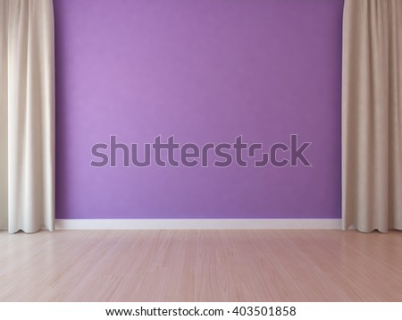 purple empty interior with beige curtains. 3d illustration - stock photo