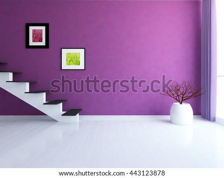 Purple empty room with stairs. Living room interior. Scandinavian interior. 3d illustration - stock photo