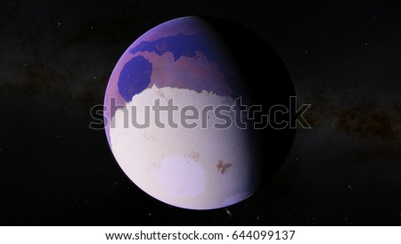 Purple exoplanet with a polar cap 3D illustration (Elements of this image furnished by NASA)