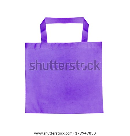 Purple Fabric bag isolated on white background