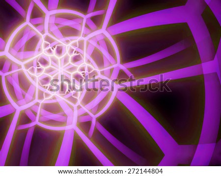 purple fantasy artistic flower with lighting effect. Beautiful shiny futuristic background for wallpaper, interior, album, flyer cover, poster, booklet. Fractal artwork for creative design.