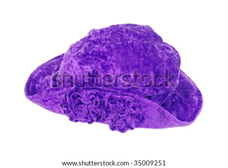 Purple floppy leisure hat with coiled flowers on the brim - path included