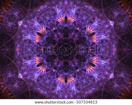 Purple floral fractal mandala, digital artwork for creative graphic design