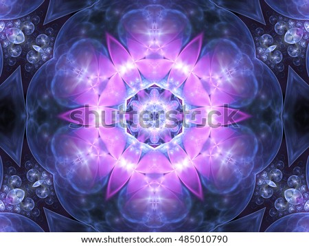 Purple floral seamless mandala, digital artwork for creative graphic design