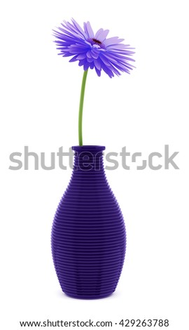 purple flower in vase isolated on white background. 3d illustration - stock photo