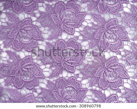 purple flowers lace fabric pattern on white background, for costume or decoration