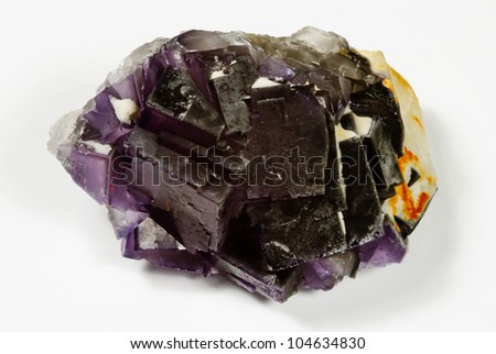 Purple Fluorite crystals - stock photo