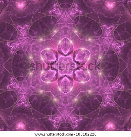 Purple fractal mandala in shape of flower, digital artwork for creative graphic design - stock photo