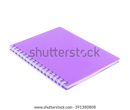 purple front cover notebook isolated on white background