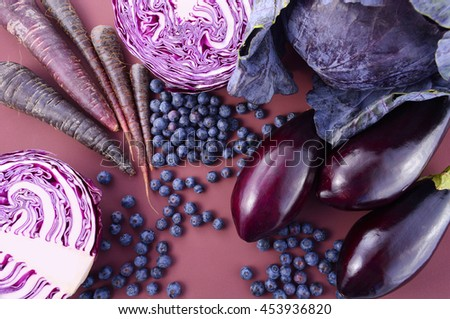 Purple fruits and vegetables that contain Anthocynins, found in the Okinawan diet, that maintain healthy blood vessels and promote longevity.