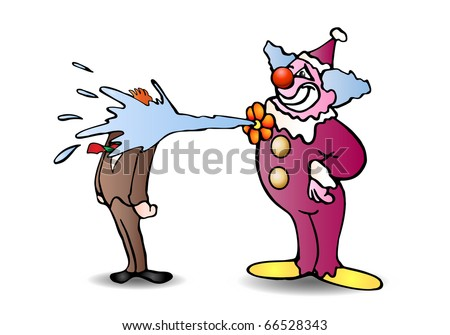 purple funny clown make a clown joke on isolated white background illustration