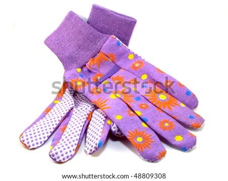 Purple Gardening Gloves - stock photo