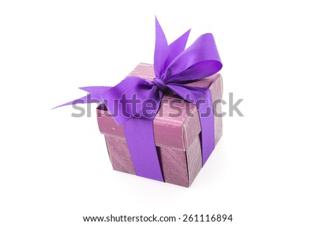 Purple gift box isolated on white background