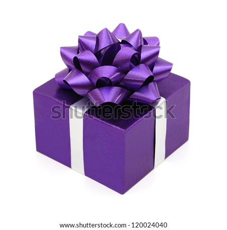 Purple gift box with a purple bow on white background
