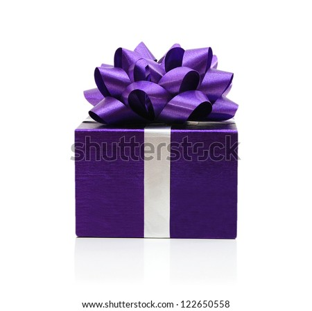 Purple gift box with a purple bow on white background - stock photo