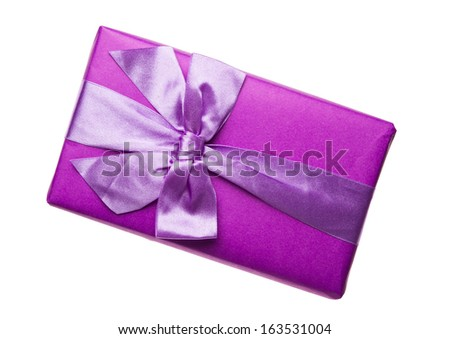 Purple gift box with purple ribbon and bow - stock photo
