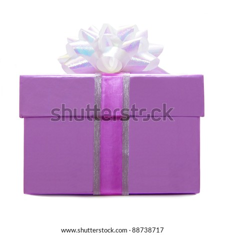 Purple Gift Box with Ribbon and White Bow over a white background