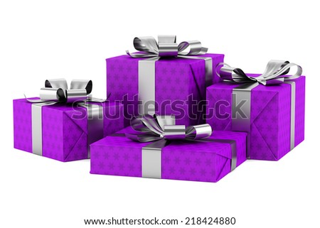 purple gift boxes with silver ribbons isolated on white background - stock photo