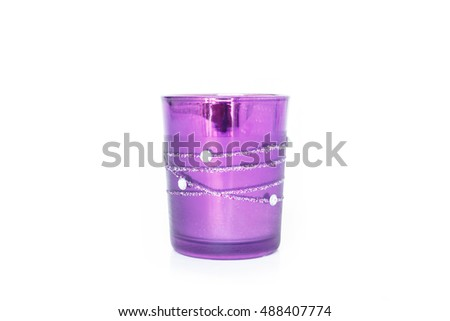 purple glass empty on white background