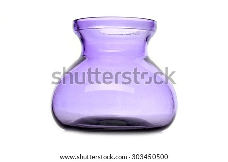 purple glass vase on a white background