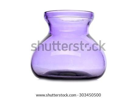 purple glass vase on a white background - stock photo