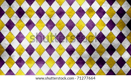 Purple, gold and white textured diamond pattern with reflective effect (small tiles) - stock photo